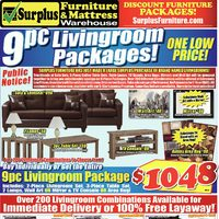 Surplus Furniture - 9-Pc. Living Room Packages! Flyer