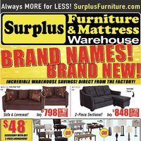 Surplus Furniture - Brand Names! Brand New! Flyer