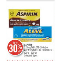 Aspirin Tablets Or Aleve Pain Relief Products