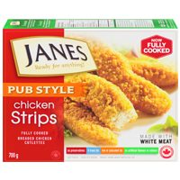 Janes Pub Style Breaded Chicken Strips, Nuggets or Burgers