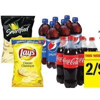 Coca-Cola, Canada Dry, Pepsi or 7up or Lay's Potato Chips, Sun Chips, Munchies or Smartfood Popcorn