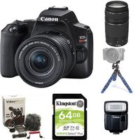 Canon EOS Rebel SL3 DSLR With EF-S 18-55mm IS STM Kit And EF 75-300mm F/4.0-5.6 III Telephone Lens Kit, And Speedlite, Mini Tripod, 64GB Memory Card And Rode Compact In-Camera Microphone