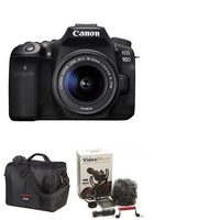 EOS 90D Digital SLR Camera With EF-S 18-55mm IS STM Lens Kit, Rode Compact In-Camera Microphone And Canon 700SR DSLR System Bag