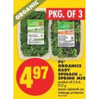 PC Organics Baby Spinach Or Spring Mix