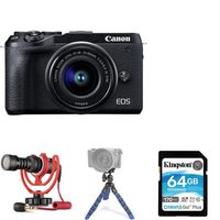Canon EOS M6 Mark II Camera With EF-M15-150MM Lens Kit, Mini Tripod, 64GB Memory Card And Rode Compact In-Camera Microphone