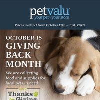 Pet Valu - October is Giving Back Month Flyer