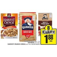 Quaker Oats, Oatmeal, Harvest Crunch Cereal
