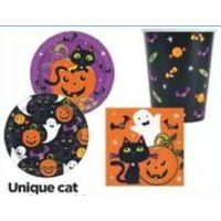 Unique Cat and Pumpkin 9' Plates or Lunch Napkins