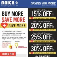 The Brick - Saving You More - Buy More, Save More, Give More Flyer