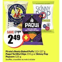 Pirate's Booty Baked Puffs Paqui Tortilla Chips or Skinny Pop Popcorn