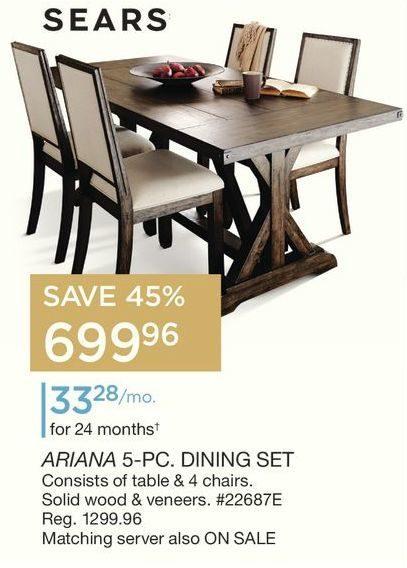 Sears Ariana 5 Pc Dining Set
