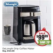De'Longhi Drip Coffee Maker with Thermal Carafe (Black/Stainless Steel) - $99.99 (20% off)