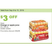 Oasis Orange or Apple Juice - $9.99 ($3.00 off)