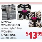 Men's or Women's Pj Set, Women's Short Robe  - $13.99