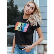 Calvin Klein Womens Monogram Pride Short Sleeve Tee - Blk - $26.97 ($12.03 Off)
